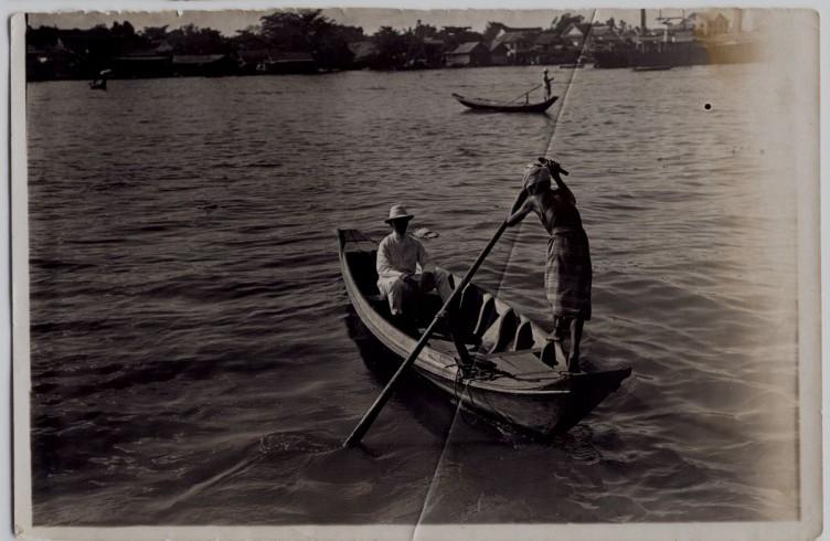 Galileo Chini sul fiume Chao Prhaja. Bangkok era conosciuta come la Venezia d'Oriente