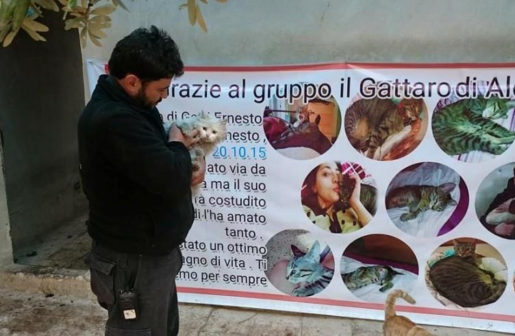 Di fronte al gattile di Ernesto