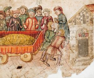 Niccolò di Giovanni Ventura - Salimbene Salimbeni porta a san Cristoforo un carro pieno di monete, particolare. BCS, ms.A.IV.5, c. 3r.
