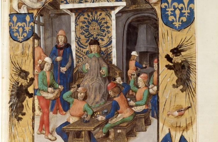 Miniature de Nicole Oresmes tirée du manuscrit De coelo et mundo (1400−1420), Bibliothèque Nationale, Paris, France, fonds français 565, fol. 1r. - Source : Gallica, Bibliothèque nationale de France